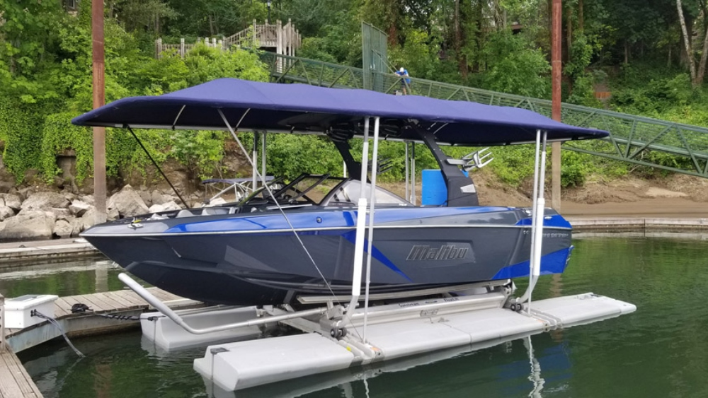 Sunstream Boat Lift with Malibu Surf Boat